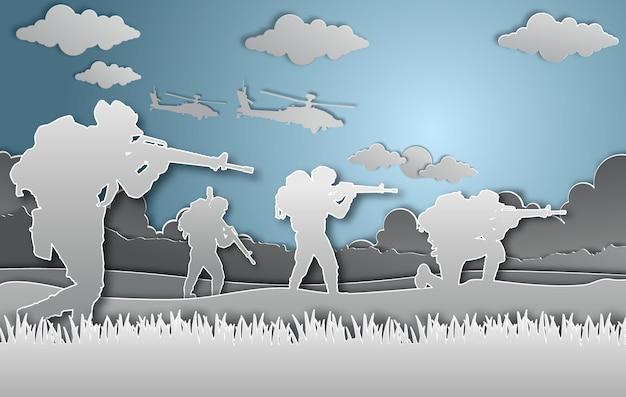 Stile di arte di carta illustrazione vettoriale militare. Vettore Premium
