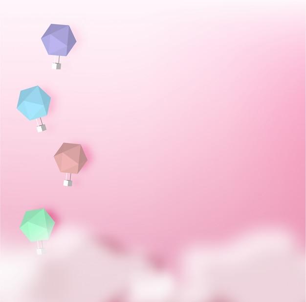 Stile di arte di carta mongolfiera con sfondo di cielo pastello Vettore Premium
