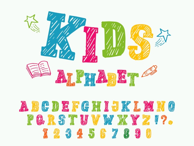 Stile di carattere per bambini alfabeto Vettore Premium