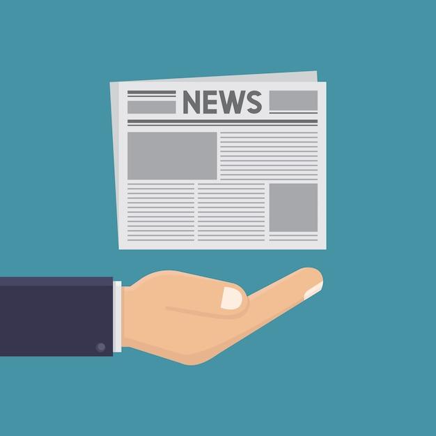 Stile di design piatto illustrazione mani e giornali Vettore Premium