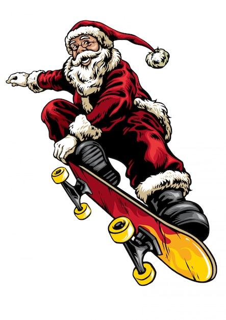 Stile di disegno a mano di babbo natale in sella a skateboard Vettore Premium