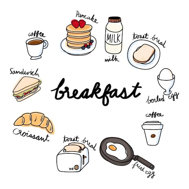 Stile di disegno illustrazione della collezione di cibo Vettore gratuito