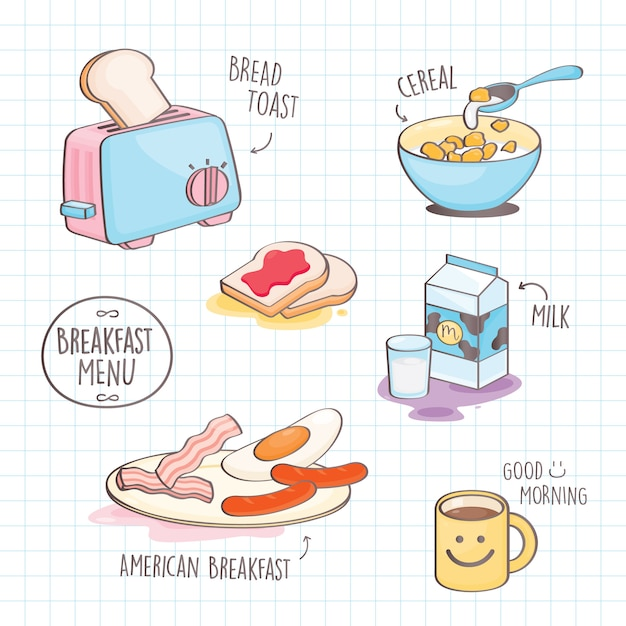 Stile di doodle colorato colazione. Vettore Premium