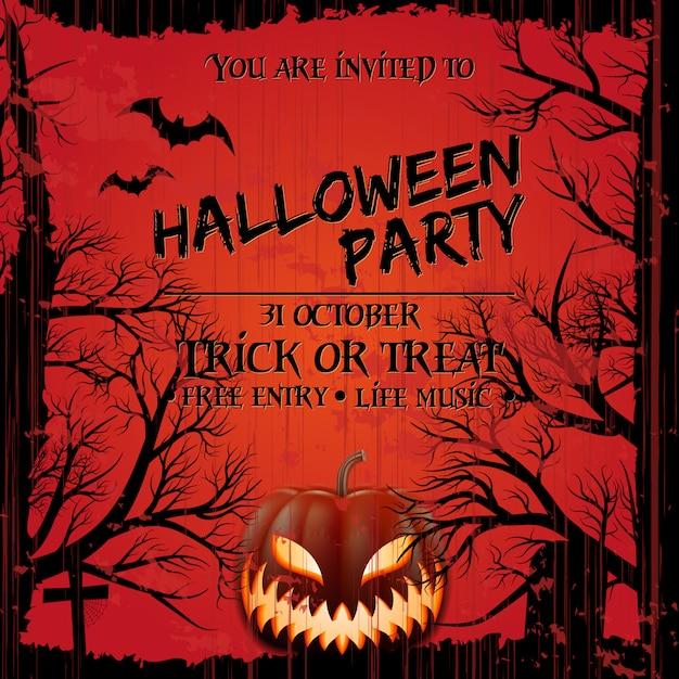 Stile di grunge del modello del manifesto dell'invito del partito di halloween. Vettore Premium