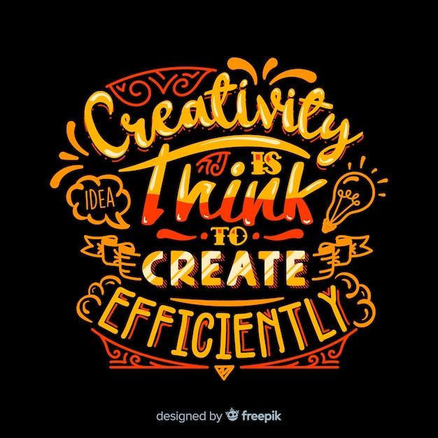 Stile di lettering sfondo citazione creatività Vettore gratuito