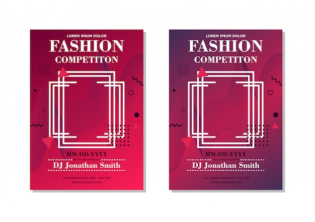 Stile di moda rosso astratto poster modello design Vettore Premium