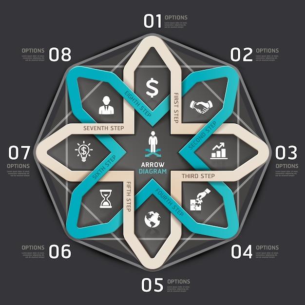 Stile di origami del cerchio della freccia di punto di affari. Vettore Premium