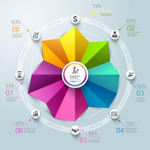 Stile di origami del grafico di cerchio di infographics di affari. Vettore Premium