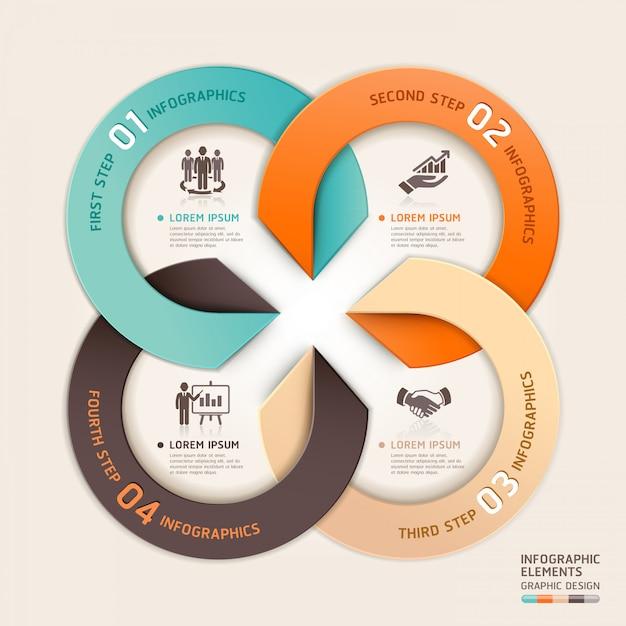 Stile di origami moderno business servizio cerchio freccia infografica Vettore Premium