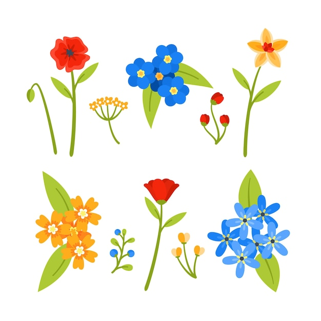Stile di raccolta di fiori colorati primavera Vettore gratuito