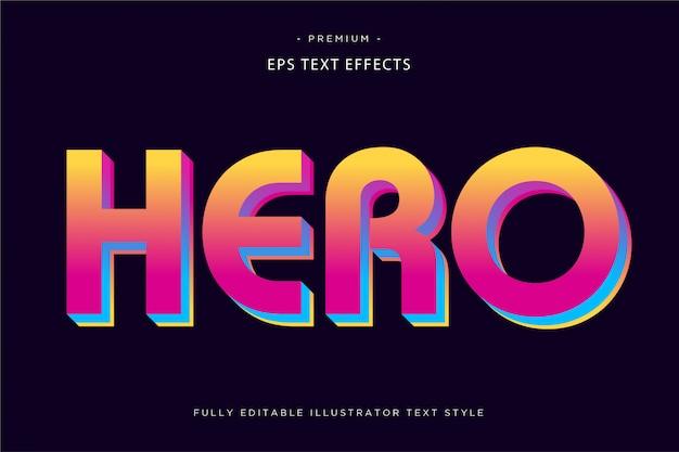 Stile di testo colorato effetto testo 3d eroe Vettore Premium