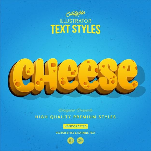 Stile di testo del formaggio Vettore Premium