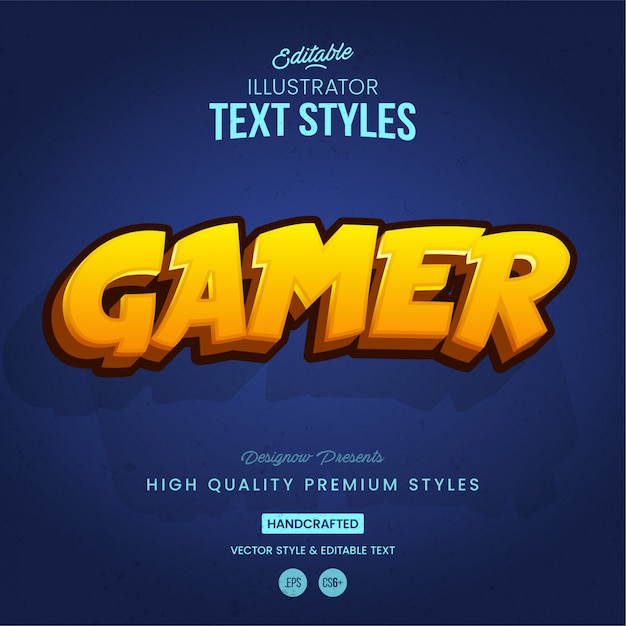 Stile di testo di gioco Vettore Premium