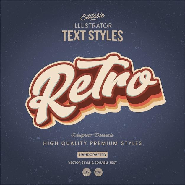 Stile di testo di illustrator vintage Vettore Premium