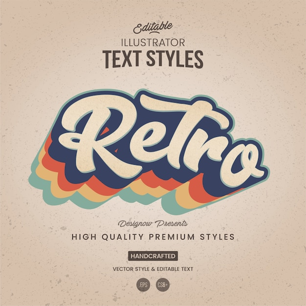 Stile di testo retrò illustratore Vettore Premium