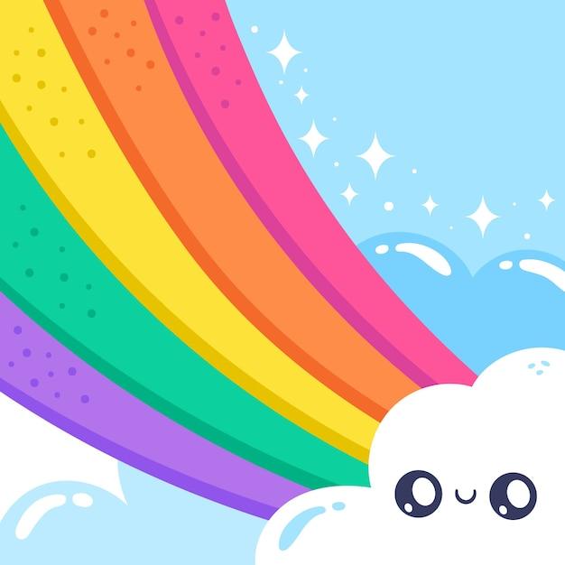 Stile disegnato a mano arcobaleno Vettore gratuito
