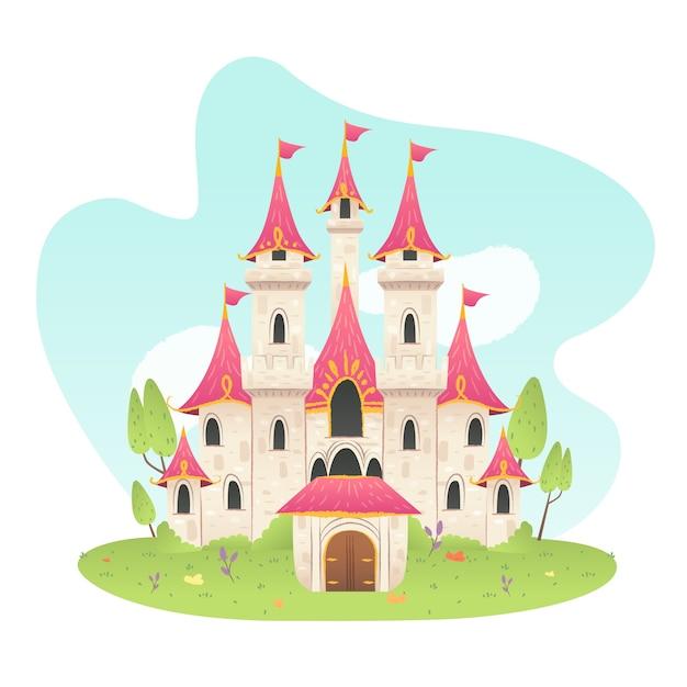 Stile disegnato a mano castello delle fiabe Vettore gratuito