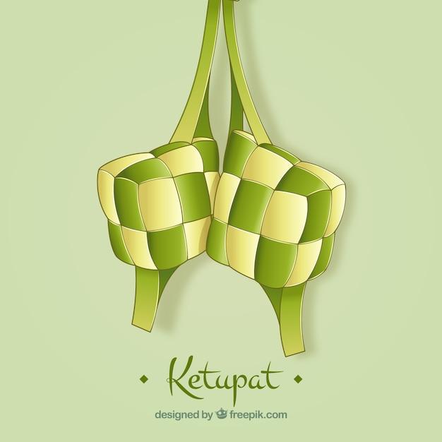 Stile disegnato a mano del fondo di ketupat Vettore gratuito