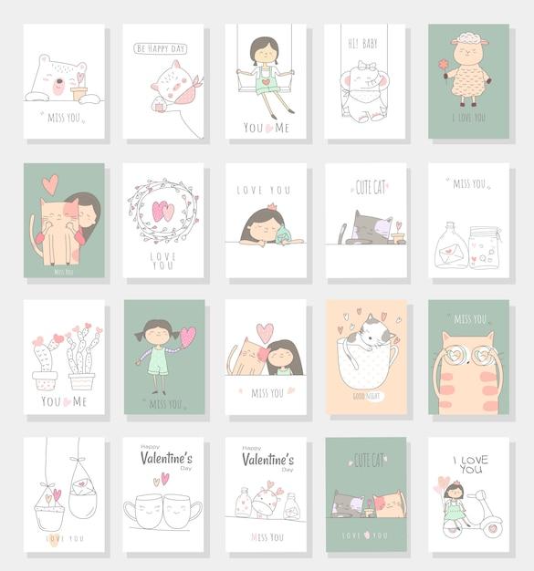 Stile disegnato a mano del fumetto animale sveglio della carta del bambino Vettore Premium
