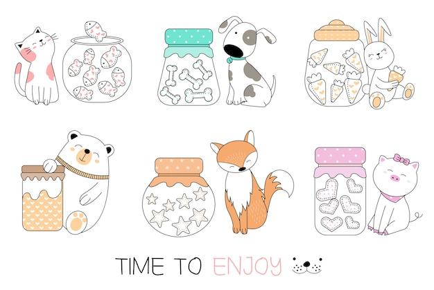Stile disegnato a mano del fumetto animale sveglio Vettore Premium