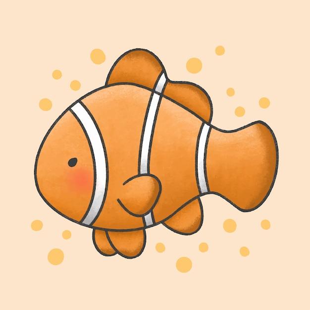 Stile disegnato a mano del fumetto del pesce pagliaccio di ocellaris sveglio Vettore Premium