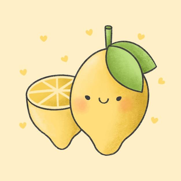 Stile disegnato a mano del fumetto di limone Vettore Premium