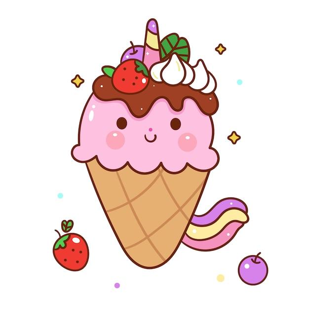 Stile disegnato a mano del fumetto di vettore sveglio del gelato di unicorno Vettore Premium