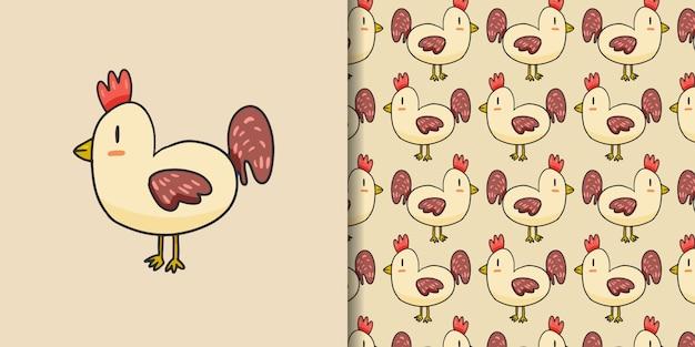 Stile disegnato a mano del fumetto sveglio del gallo Vettore Premium