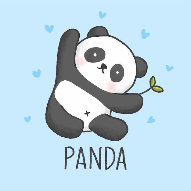 Stile disegnato a mano del fumetto sveglio del panda Vettore Premium