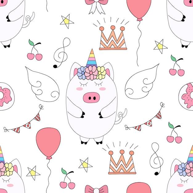 Stile disegnato a mano del fumetto sveglio dell'unicorno del modello senza cuciture. Vettore Premium