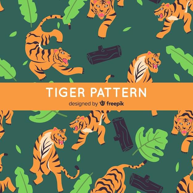 Stile disegnato a mano del modello della tigre Vettore gratuito