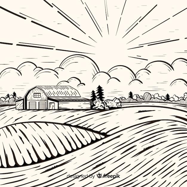 Stile disegnato a mano del paesaggio dell'azienda agricola Vettore gratuito