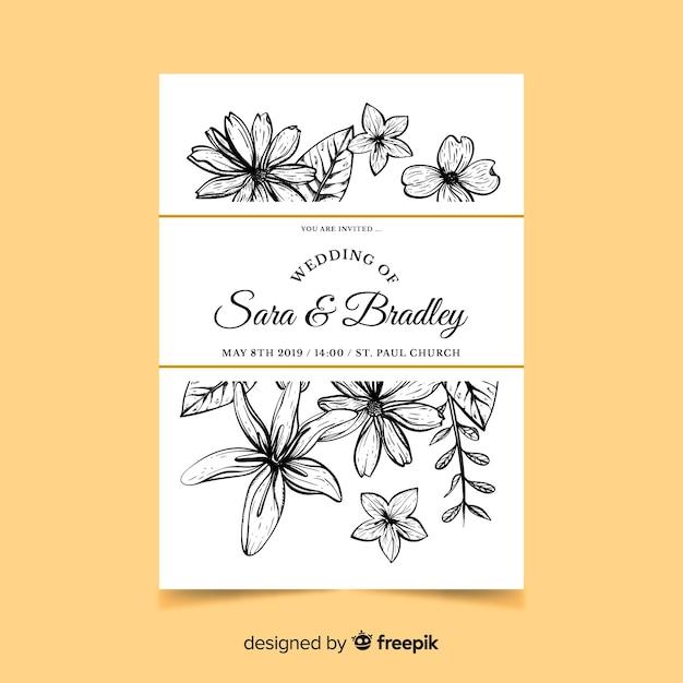Stile disegnato a mano dell'invito di nozze dei fiori Vettore gratuito