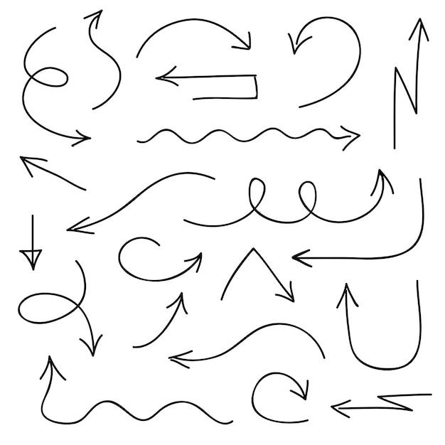 Stile disegnato a mano delle icone nere delle frecce Vettore Premium