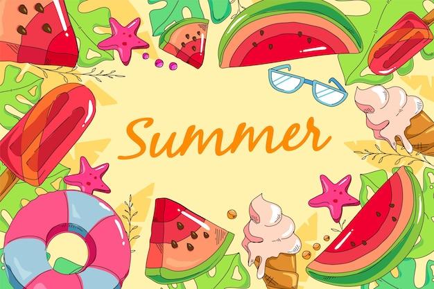 Stile disegnato a mano di sfondo estate Vettore gratuito