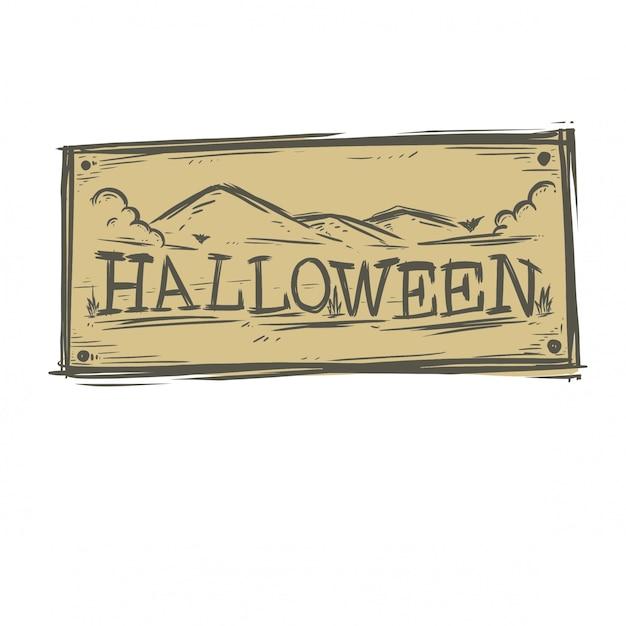 Stile disegnato a mano di tipografia di halloween Vettore Premium