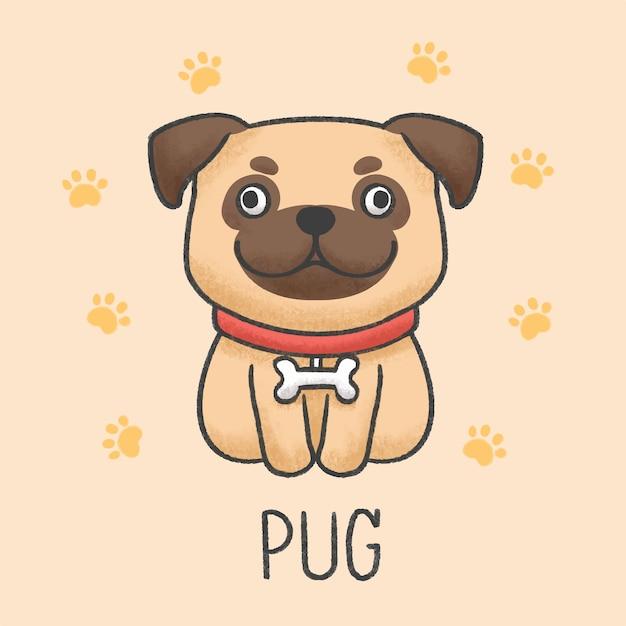 Stile disegnato a mano sveglio del fumetto del cane del carlino Vettore Premium