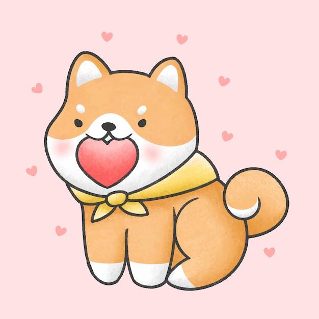 Stile disegnato a mano sveglio del fumetto del cuore della tenuta del cane di inu di shiba Vettore Premium