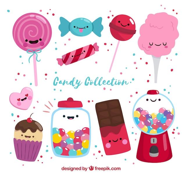 Stile disegnato colorato collezione di caramelle in mano Vettore gratuito