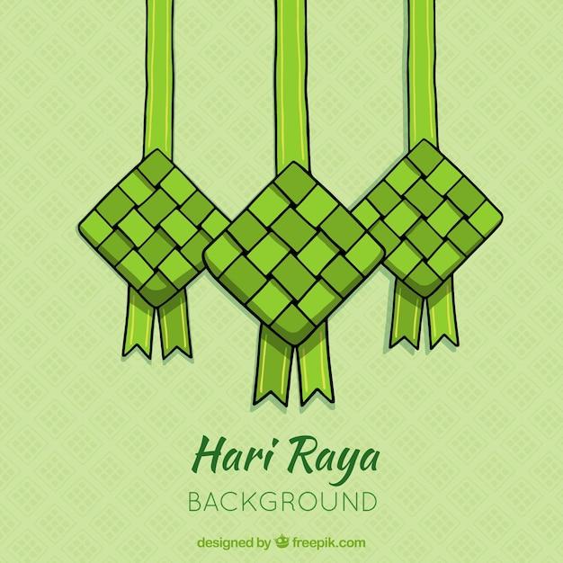 Stile disegnato del fondo di ketupat a disposizione Vettore gratuito