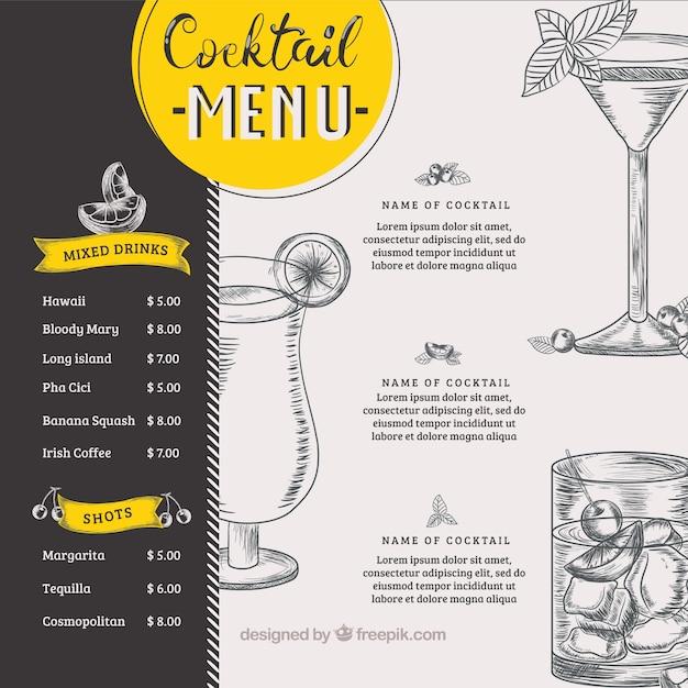 Stile disegnato del modello del menu del cocktail a disposizione Vettore gratuito