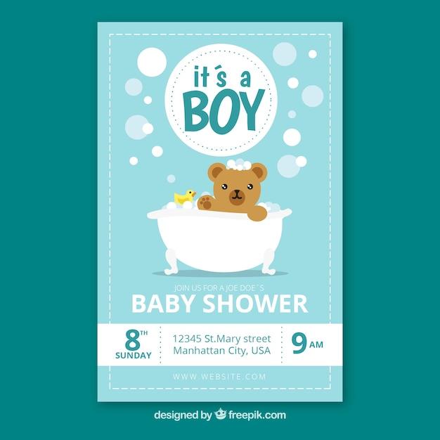 Stile disegnato della doccia dell'invito del bambino a disposizione Vettore gratuito