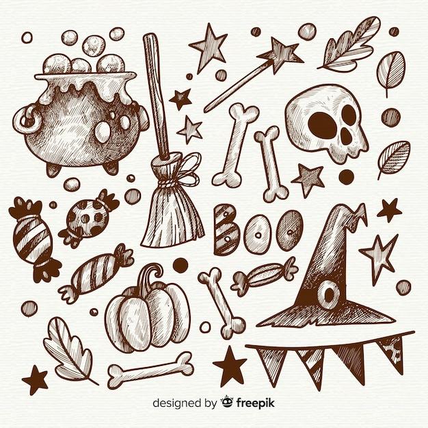 Stile disegnato della raccolta degli elementi di halloween a disposizione Vettore gratuito