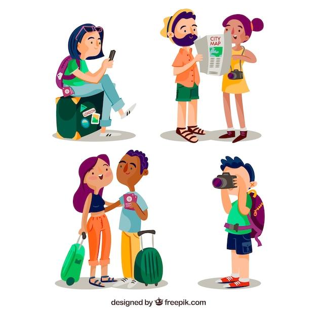 Stile disegnato di viaggiare del fondo della gente a disposizione Vettore gratuito
