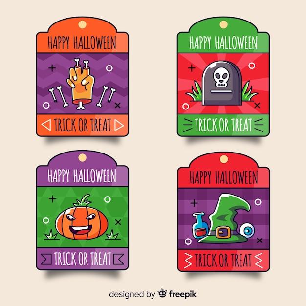 Stile disegnato variopinto della raccolta delle etichette di halloween a disposizione Vettore gratuito