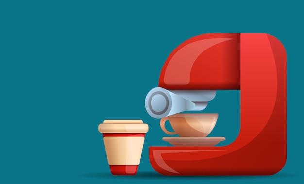 Stile domestico del fumetto dell'illustrazione della macchina del caffè Vettore Premium