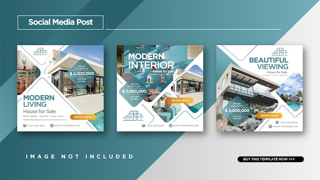 Stile elegante di immobili o vendita casa instagram post design Vettore Premium