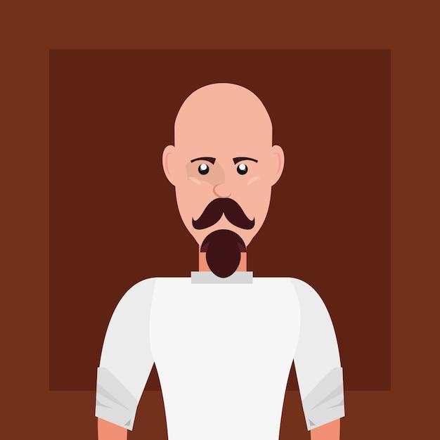 Stile hipster con uomo di cartone animato con baffi su sfondo