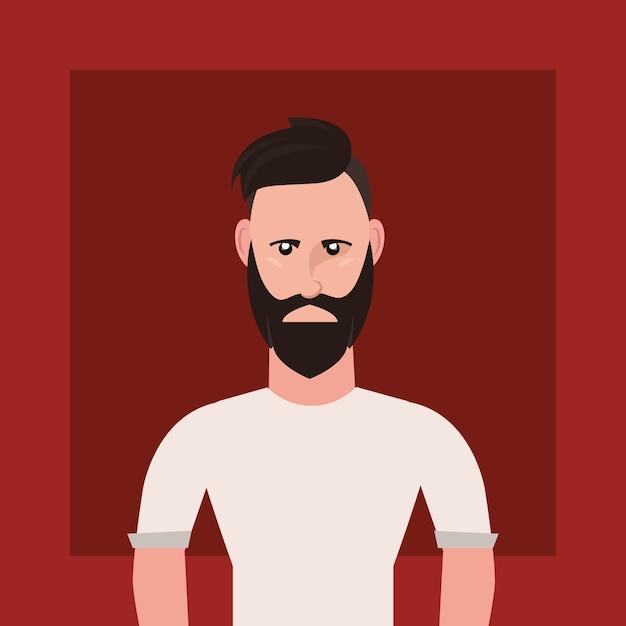 Stile hipster con uomo di cartone animato con barba su sfondo