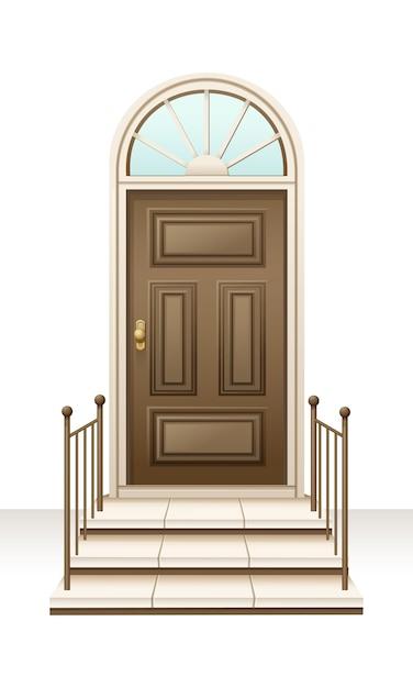 Stile lussuoso ad ovest della porta della casa di legno marrone Vettore Premium